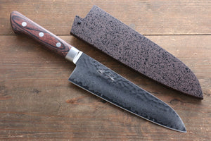 Seisuke VG10 33 Layer Damascus Santoku Japanese Knife 180mm with Mahogany Handle with Saya