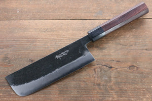 Takayuki Iwai Blue Super Steel Kurouchi Finish Nakiri Japanese Chef Knife