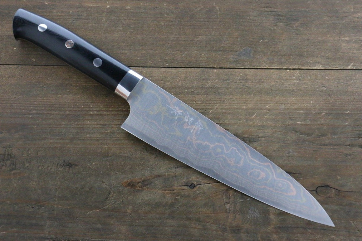 Takeshi Saji Blue Steel No.2 Colored Damascus Gyuto Japanese Chef Knife 180mm with Black Micarta Handle
