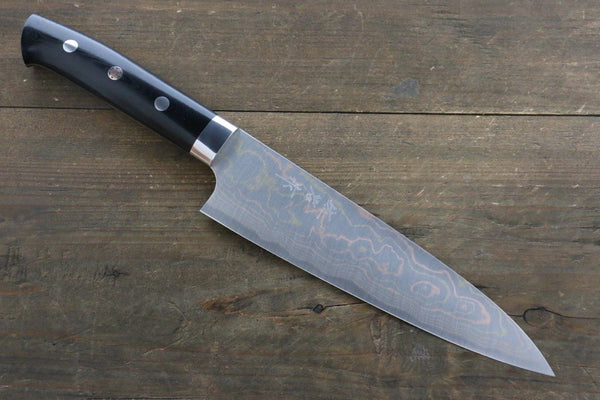 Takeshi Saji Blue Steel No.2 Colored Damascus Gyuto Japanese Chef Knife 180mm wtih Black Micarta Handle