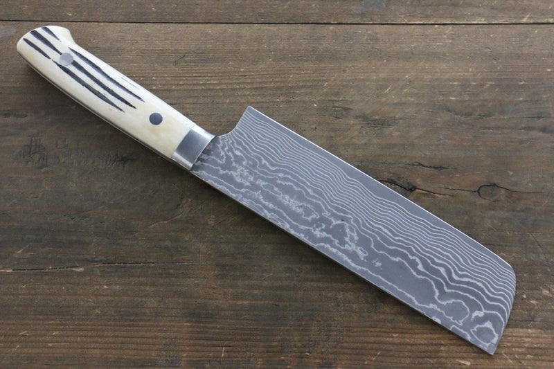 Takeshi Saji VG10 Black Damascus Nakiri Japanese Knife 180mm Cow Bone Handle - Japanny - Best Japanese Knife