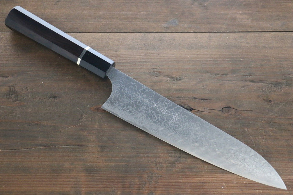 Saji R2/SG2 Diamond Finish Damascus Gyuto Japanese Chef Knife 210mm with Ebony  handle