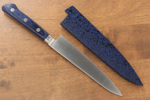 Seisuke Molybdenum Petty-Utility Japanese Knife 150mm Blue Pakka wood Handle with Sheath - Japanny - Best Japanese Knife