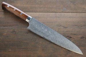 Saji R2/SG2 Diamond Finish Damascus Gyuto Japanese Chef Knife 210mm with Iron Wood handle
