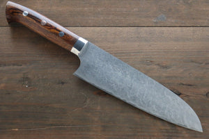 Takeshi Saji R2/SG2 Diamond Finish Damascus Santoku Japanese Chef Knife 180mm with Iron Wood handle
