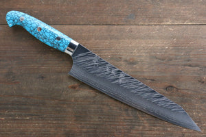 Yu Kurosaki Fujin SRS13 Hammered Damascus Gyuto Japanese Knife 210mm with Turquoise Handle