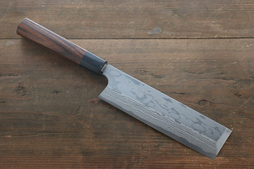 Hideo Kitaoka Blue Steel No.2 Damascus Kakugata Usuba Japanese Chef Knife 180mm - Japanny - Best Japanese Knife