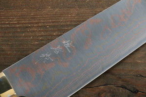 Takeshi Saji Blue Steel No.2 Colored Damascus Gyuto Japanese Knife 240mm with Brown Cow Bone  Handle