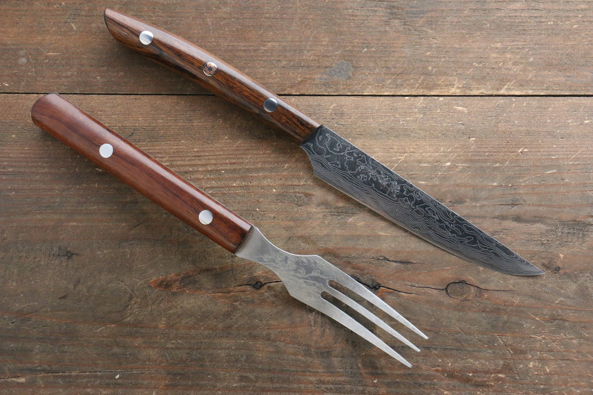 Takeshi Saji R2/SG2 Steak Knife & Fork Set with Ironwood Handle