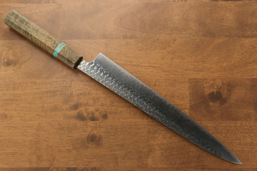 Yu Kurosaki Senko R2/SG2 Hammered Sujihiki Japanese Knife 270mm Maple(With turquoise ring Green) Handle - Japanny - Best Japanese Knife