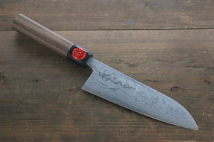 Shigeki Tanaka Blue Steel No.2  17 Layer Damascus Santoku Japanese Chef Knife 165mm with Walnut Handle