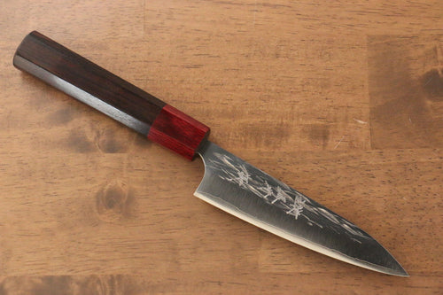 Yu Kurosaki Juhyo R2/SG2 Hammered Petty-Utility Japanese Knife 120mm Shitan (ferrule: Red Pakka wood) Handle - Japanny - Best Japanese Knife