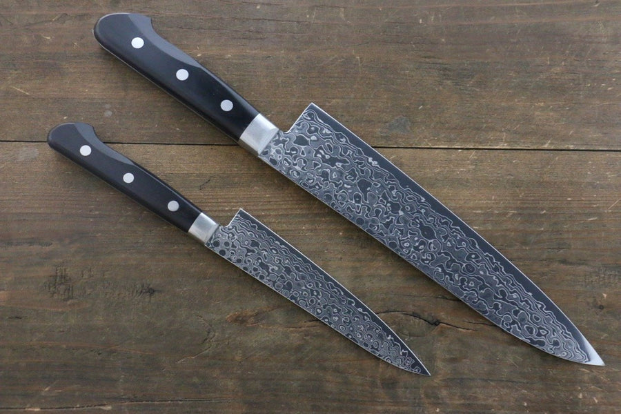 Sakai Takayuki AUS10 45 Layer Mirrored Damascus Japanese Gyuto 210mm & Petty 135mm Knife Set