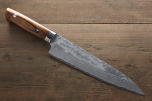 Takeshi Saji VG10 Black Damascus Gyuto Japanese Chef Knife 210mm with Iron Wood Handle