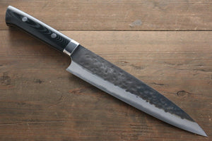 Takeshi Saji Blue Super Clad Kurouchi Gyuto Japanese Chef Knife 180mm with Black Micarta