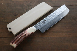Sakai Takayuki 45 Layer Damascus Nakiri Japanese Kitchen Chef Knife with Deer Horn Handle
