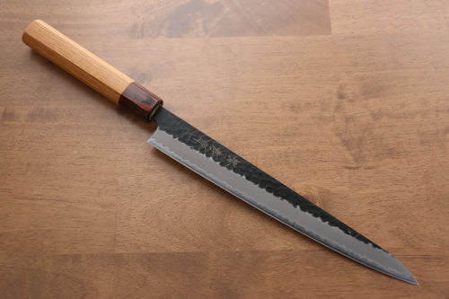 Sakai Takayuki Blue Super Hammered Black Finished Sujihiki Japanese Knife 240mm Keyaki (Japanese Elm) Handle - Japanny - Best Japanese Knife