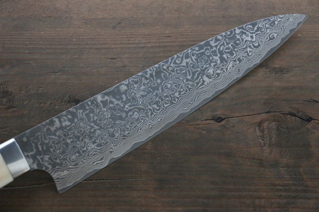 Saji R2/SG2 Black Damascus Gyuto Japanese Chef Knife 210mm wtih Deer Horn handle