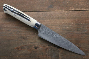 Takeshi Saji R2/SG2 Black Damascus Petty-Utility Japanese Knife 130mm with White Cow Bone  Handle