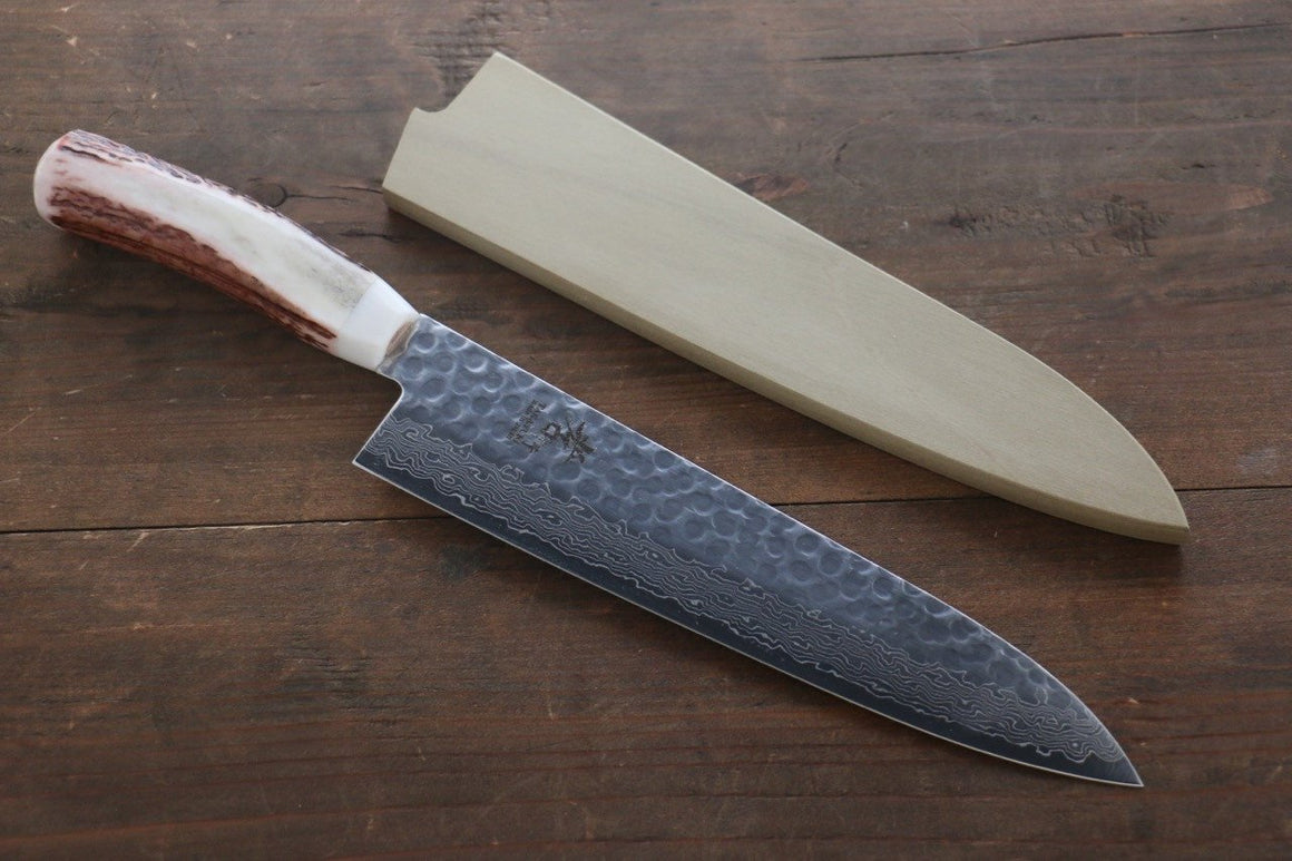 Sakai Takayuki 45 Layer Damascus Gyuto Japanese Kitchen Chef Knife 210mm with Deer Horn Handle
