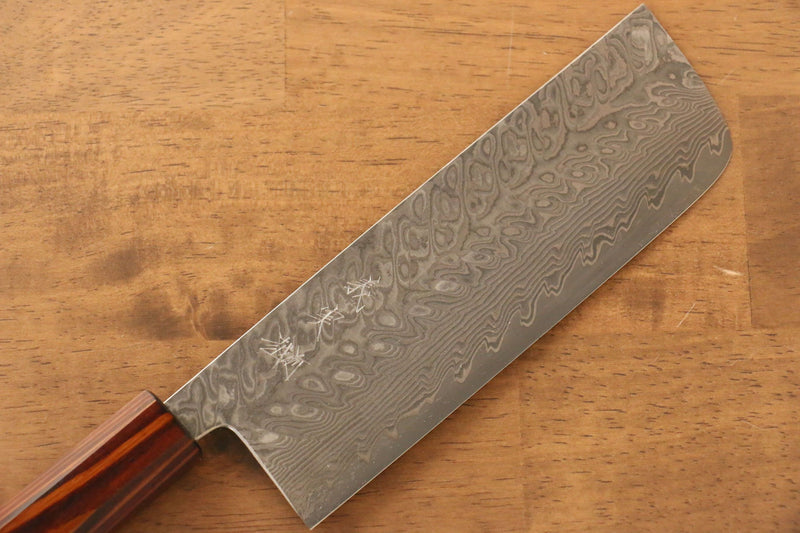 Yoshimi Kato R2/SG2 Damascus Nakiri Japanese Knife 165mm Sugi wood (Lacquered) Handle - Japanny - Best Japanese Knife