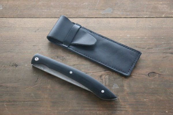 Saji R2 Black Damascus Folding Steak Knife 100mm wtih Black Micarta handle