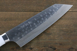 Takeshi Saji SRS13 Hammered Damascus Bunka Japanese Chef Knife 180mm with White Stone handle