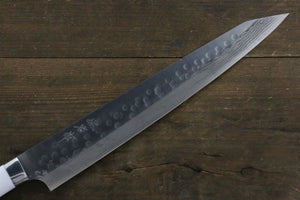 Takeshi Saji SRS13 Hammered Damascus Sujihiki Japanese Chef Knife 270mm with White Stone Handle