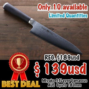 Miyako 33 Layer Damascus AUS-8a Gyuto Japanese Chef Knife, 180mm