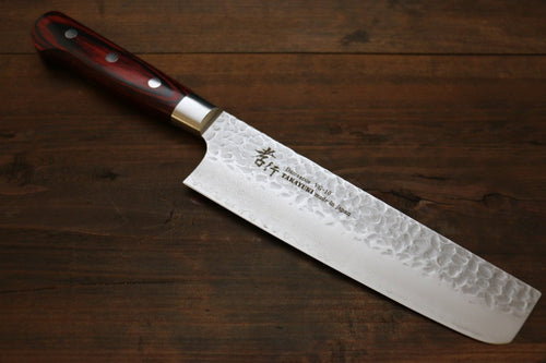 Sakai Takayuki VG10 33 Layer Damascus Nakiri Japanese Knife 160mm Mahogany Pakka wood Handle - Japanny - Best Japanese Knife