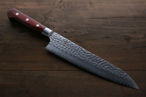 Sakai Takayuki VG10 33 Layer Damascus Gyuto Japanese Knife 210mm Mahogany Pakka wood Handle - Japanny - Best Japanese Knife