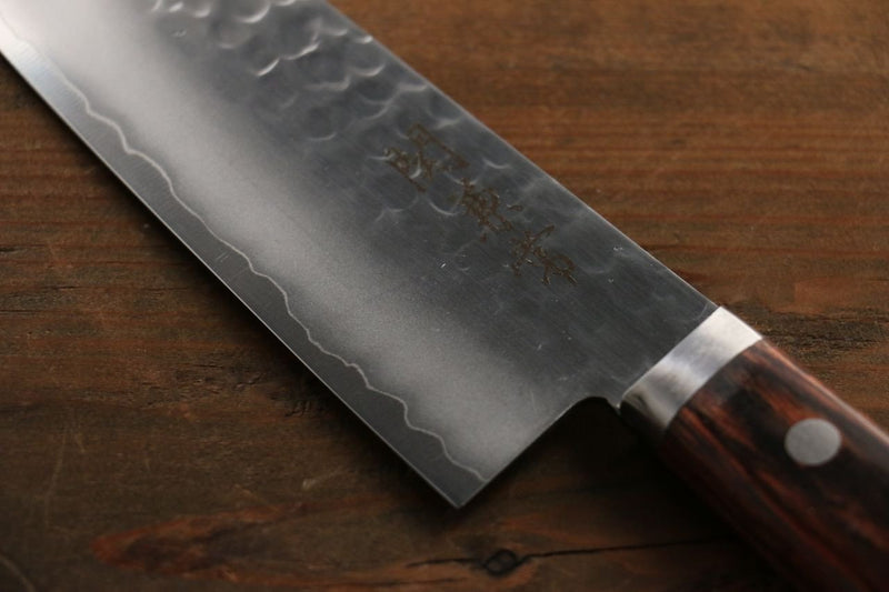Kanetsune VG1 Hammered Santoku Japanese Knife 165mm Mahogany Handle - Japanny - Best Japanese Knife
