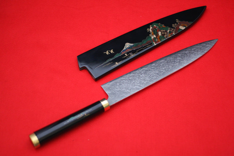 Takeshi Saji R2/SG2 Gyuto Japanese Knife 240mm Maki-e Art Fuji Handle with Sheath - Japanny - Best Japanese Knife