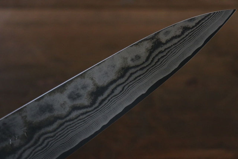 Takeshi Saji VG10 Black Damascus Gyuto Japanese Knife 180mm Brown Cow Bone Handle - Japanny - Best Japanese Knife