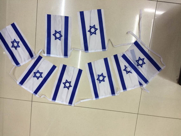 Israel flags 8 on a string - decorations - Sukkahmart South Africa