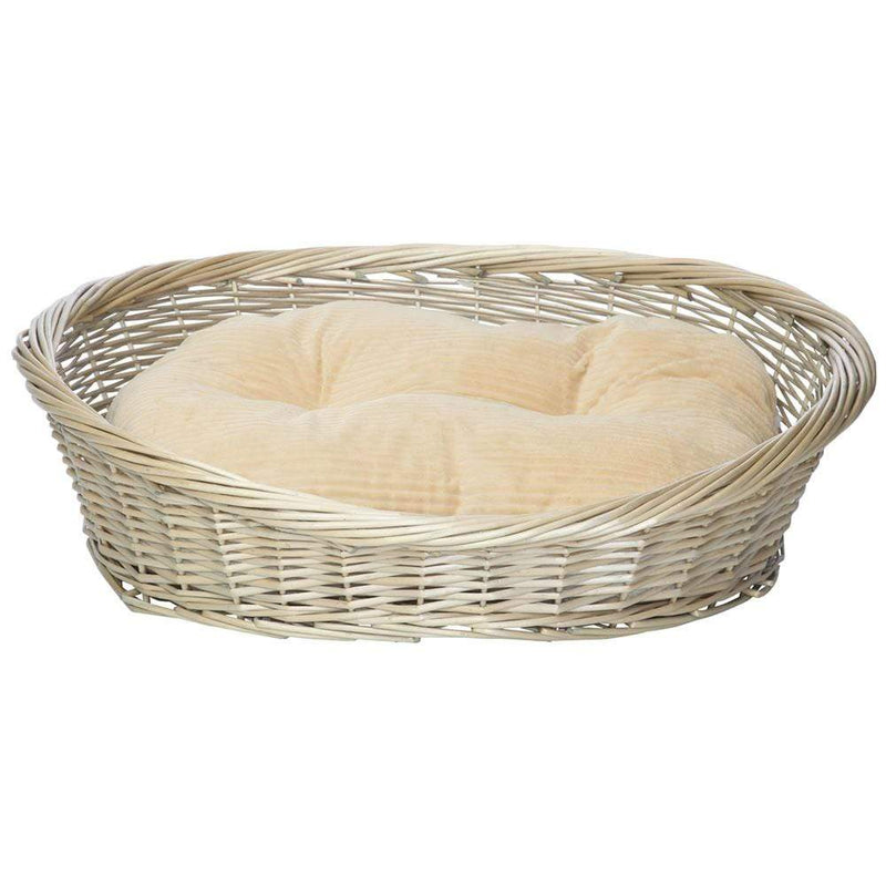 Wicker Basket and Chester Oval Fleece Dog Bed