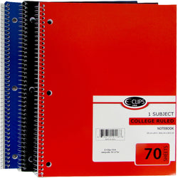 1 Subject College Ruled Wire Notebook - Assorted - CASE OF 48-School & Office-shayonawholesale