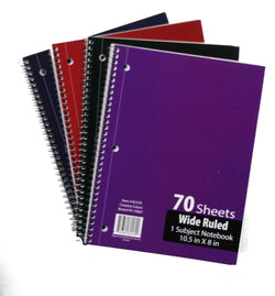 1 Subject Wide Rule Notebook - 70 Page - CASE OF 48-School & Office-shayonawholesale