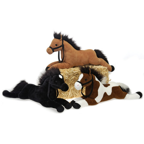 "21"" 3 Assorted Color Plush Laydown Horses (Case of 18)-Storage & Organization-shayonawholesale"