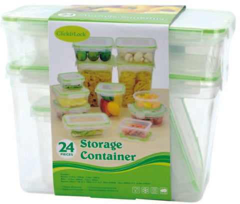 24 Piece Plastic Container With Click & Lock Lids (Case of 6)-Pet Supplies-shayonawholesale