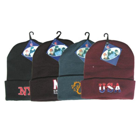 Wholesale Embroidered Roll Up Ski Hats (Case of 72)