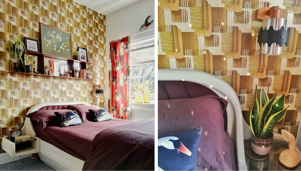 House Tour: Estelle's 70's-tastic Home - bedroom with space age bed and vintage wallpaper