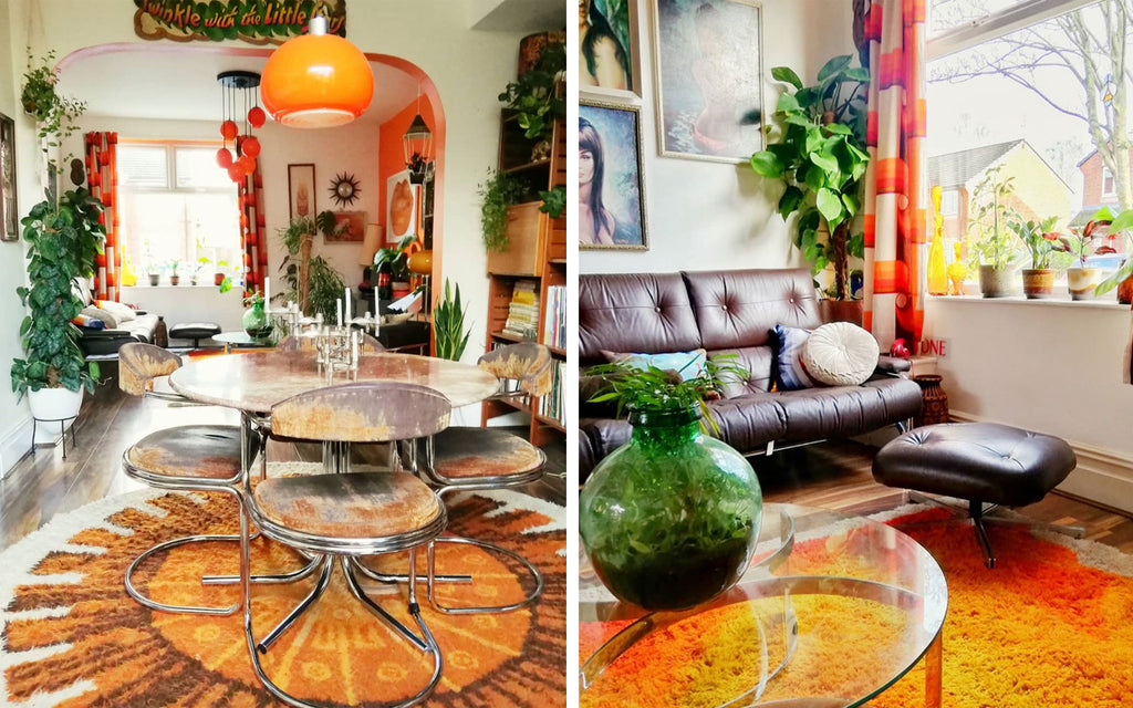 House Tour: Estelle's 70's-tastic Home - Dining room and lounge