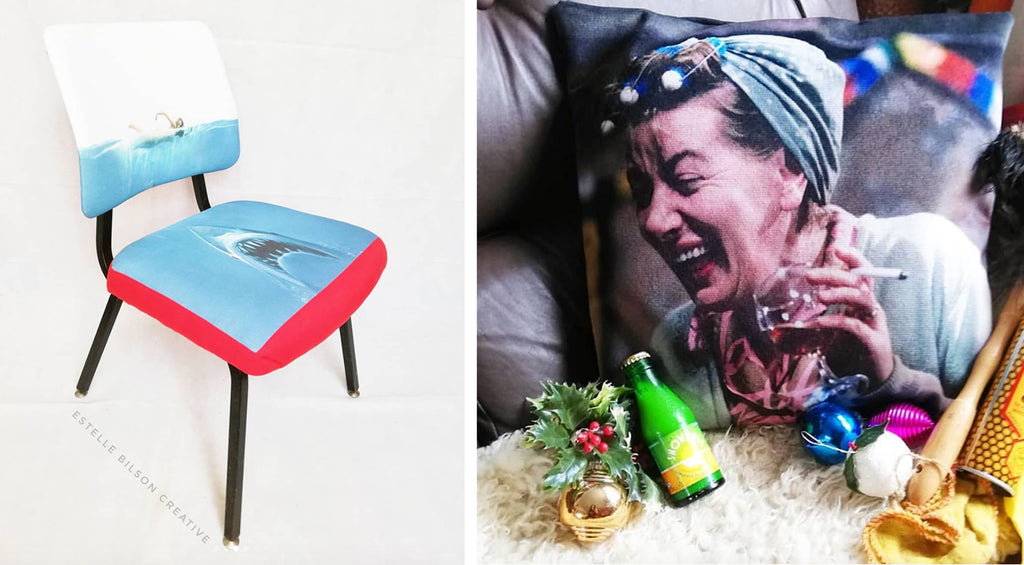 Estelle Bilson Creative Jaws Chair and Hilda Ogden cushion | The Inkabilly Blog