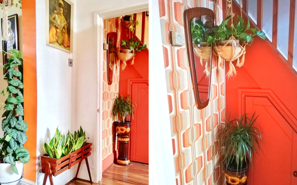 House Tour: Estelle's 70's-tastic Home - hallway with vintage wallpaper