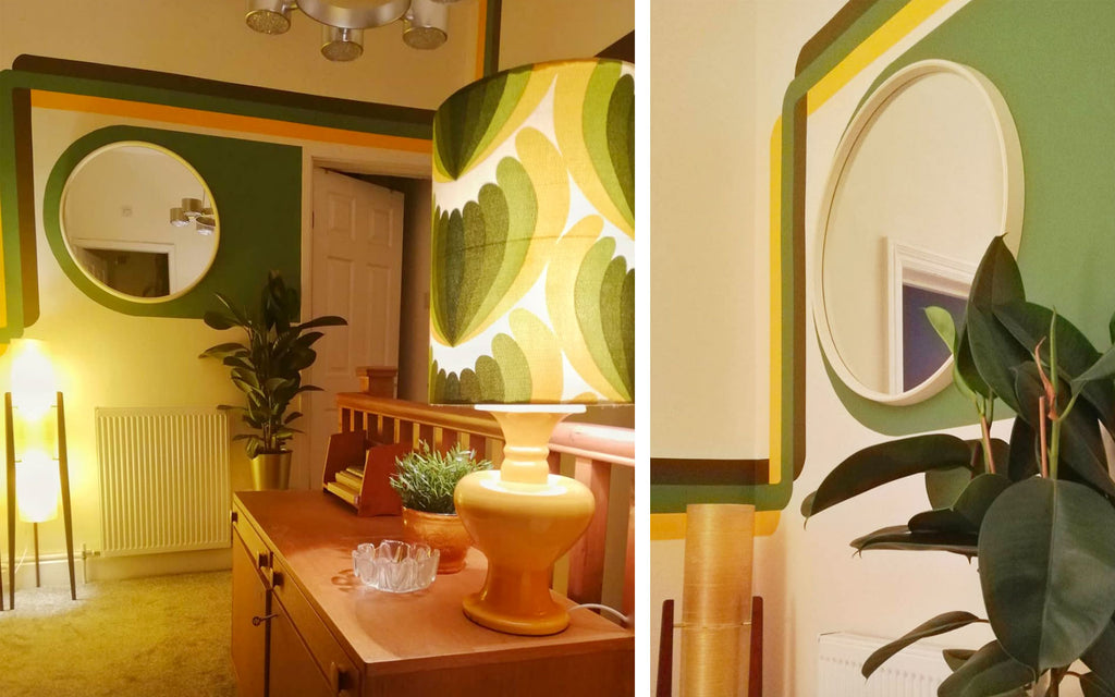 House Tour: Estelle's 70's-tastic Home - super graphics on landing