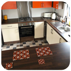 Customer photo - Brown 70s Op Art placemats and coasters in retro kitchen | The Inkabilly Emporium