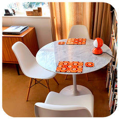 Customer photo - Orange Op Art Placemats and Coasters on retro table in mid century style dining room | The Inkabilly Emporium