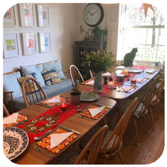 Customer Photo - Op Art Placemats on Ercol table, set for Christmas | The Inkabilly Emporium