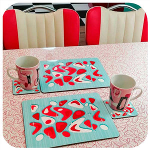 Atomic Boomerang, Retro Diner placemats and coasters in red and turquoise. Customer Photo | The Inkabilly Emporium